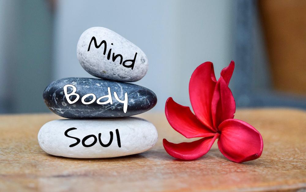Holistic,health,concept,of,zen,stones,with,deep,red,plumeria
